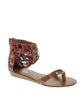 Image 1 of ALDO Walka Printed Beaded Cuffed Flat Sandals