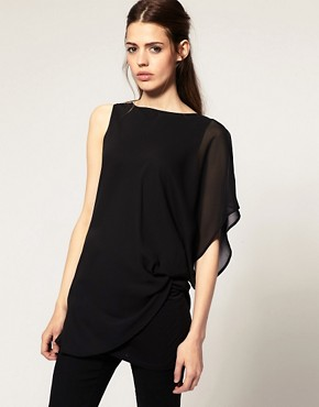 Image 1 of ASOS Top with Chiffon Layer