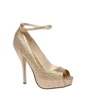 Image 1 ofASOS PARANORMAL Gold Platform Shoe