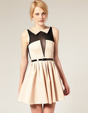 Image 1 of ASOS Mesh Dress with Peter Pan Collar