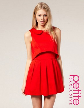 Image 1 of ASOS PETITE Exclusive Peter Pan Collar Open Back Dress