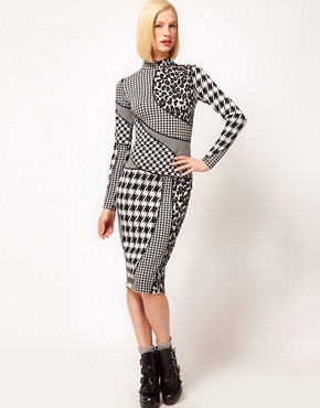 Image 1 of ASOS Pencil Dress In Dogtooth And Animal Print