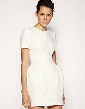 Image 1 of ASOS BLACK Exaggerated Hip Textured Dress