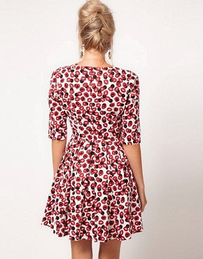 Image 2 of ASOS Skater Dress With Kiss Print