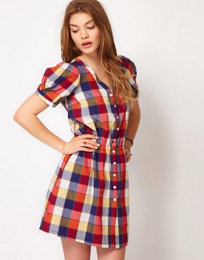 Image 1 of Dr Denim Alicia Checked Shirt Dress