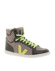Veja x Domino SPMA Polka Dot Brown High Top Trainers