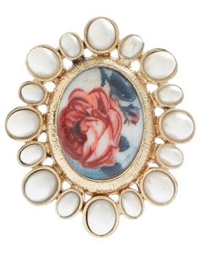 Image 2 ofASOS Floral Cameo Ring With Pearl Surround