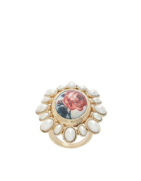Image 1 ofASOS Floral Cameo Ring With Pearl Surround