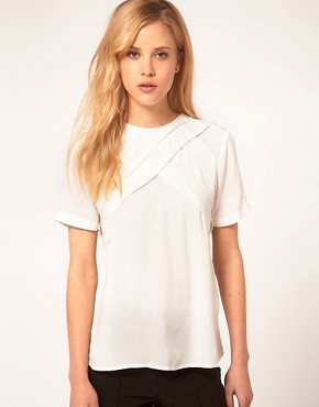 Image 1 of ASOS Blouse With Diagonal Pleats