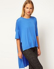 White Tent High Low Tee In Lightweight Jersey