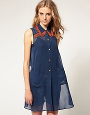 ASOS Fringed Collar Shirt With Cropped Back