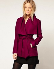 Ted Baker Wrap Collar Detail Short Wool Belted Coat