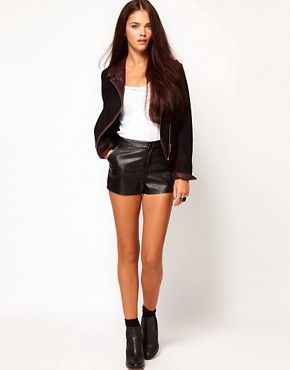 Image 1 ofRiver Island Leather Look Shorts