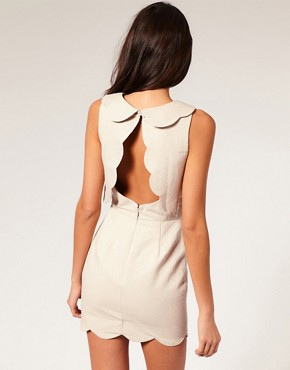 Image 2 of ASOS PETITE Pique Chelsea Scalloped Shift Dress