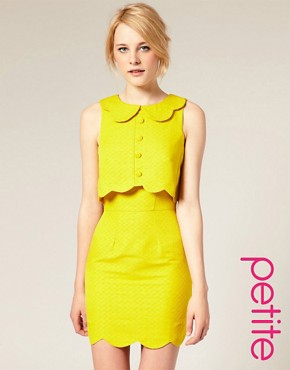 Image 1 of ASOS PETITE Pique Chelsea Scalloped Shift Dress