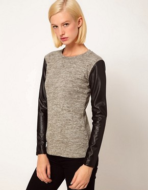 Image 1 ofASOS Top in Knit with Leather Look Sleeves