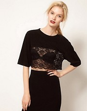 BACK by Ann-Sofie Back Lace Crop T-Shirt
