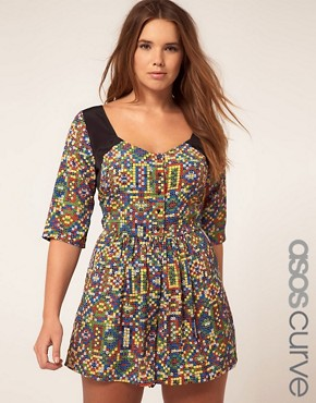 Image 1 of ASOS CURVE Exclusive Playsuit In Mex Tex Print