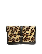 Warehouse Leopard Print Clutch Bag