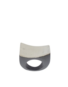 Image 1 of ASOS Carved Wooden Ring With Metal Top