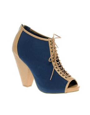 Image 1 of ASOS TELLTALE Lace Up Peep Toe Shoe Boot