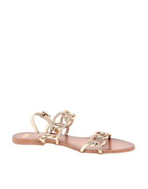 Image 1 of ASOS FRANCE Leather Flat Sandals