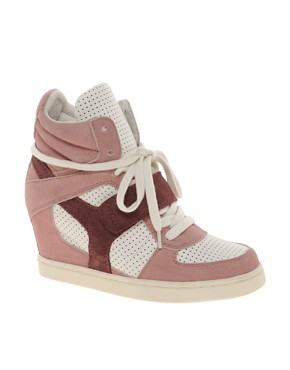 Image 1 of Ash Cool Suede Color Block Pink Strapped Wedge Sneakers