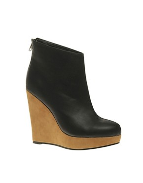 Image 1 ofASOS ASCENT Zip Back Wedge Ankle Boots
