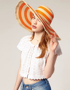 Image 1 of ASOS Oversized '70s Orange Stripe Floppy Straw Hat