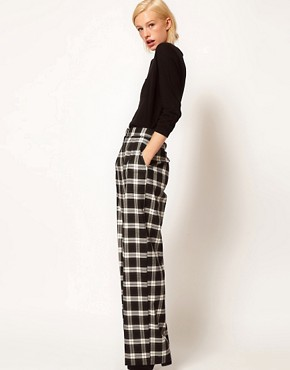 Image 1 of ASOS Wide Leg Pants In Check