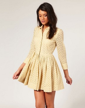 Image 1 of ASOS Broderie Anglaise Shirt Dress