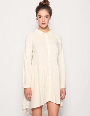 Image 1 ofASOS Button Through Drop Waist Shirt Dress