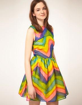 ASOS Skater Dress in Rainbow Stripe - £32.00