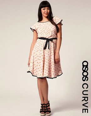 Image 1 of ASOS CURVE Piped Edge Heart Print Dress
