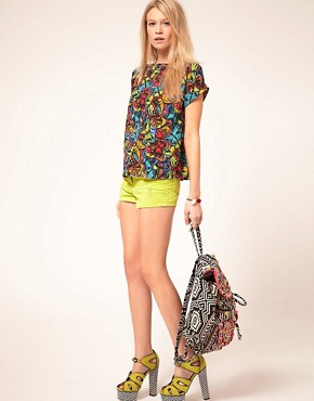 Image 4 of ASOS PETITE Exclusive Top In Butterfly Print