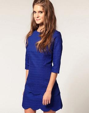Image 1 ofASOS Textured Pencil Dress with Scalloped Edge