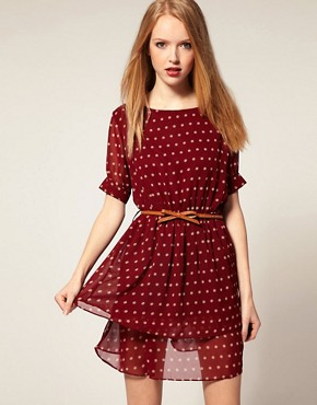 Image 1 of Dahlia Chiffon Tiered Dress in Spot Print