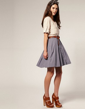 Image 1 ofVero Moda Button Through Full Chambray Skirt With Belt