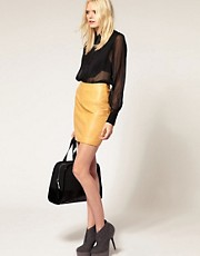 Just Female Leather Pencil Skirt