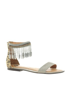 Image 1 ofRiver Island Feather Ankle Chain Flat Sandals
