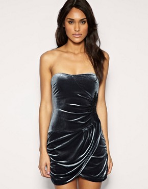 Image 1 of ASOS Velvet Embellished Bandeau Dress