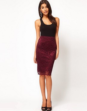 Image 1 ofASOS Pencil Skirt in Lace with Scallop Hem