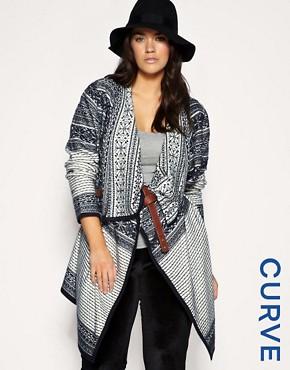 Image 1 ofASOS CURVE Pattern Wrap Blanket Cardigan