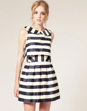Image 1 of ASOS Peter Pan Dress in Stripe Print