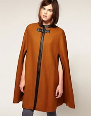Just Female Bow Detail Cape Coat