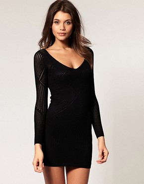 Image 1 ofASOS Knitted Bodycon Dress With Stitched Lace Detail