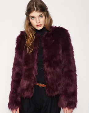 Dark red faux fur coat