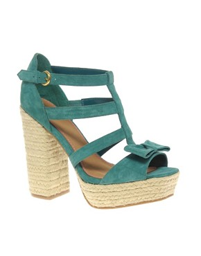 Image 1 of ASOS HIGHWAY Espadrille Bow Platform Sandals