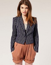 People Tree Stripe Cropped Blazer