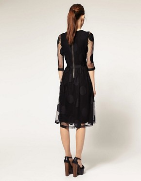 Image 2 of ASOS Midi Dress in Mesh Spot